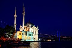 Nacht in Ortakoy Royalty-vrije Stock Foto's