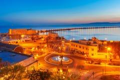 Nacht oude haven van Heraklion, Kreta, Griekenland royalty-vrije stock foto