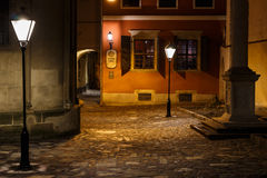 Nacht oude stad van Lviv Royalty-vrije Stock Foto