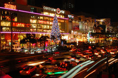 Nacht overvolle verkeerslichten Stock Afbeelding