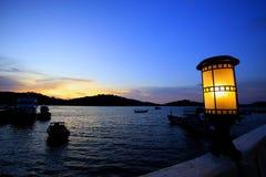 Nacht overzeese baai Stock Fotografie