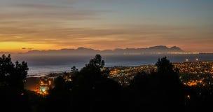 Nacht panoramisch van Cape Town royalty-vrije stock foto