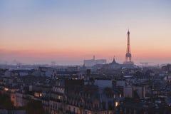 Nacht in Parijs, cityscape Stock Afbeelding