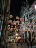 Nacht in Porto-Straße lizenzfreie stockfotografie