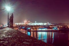 Nacht Praag Stock Foto's