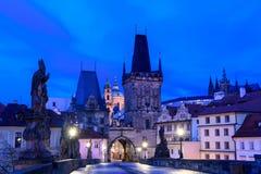 Nacht Prag Stockfotos