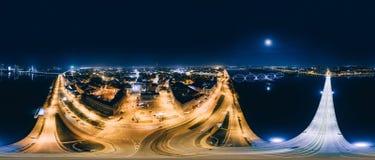 Nacht Riga 360 VR-Hommelbeeld voor Virtuele werkelijkheid, Panorama Stock Fotografie