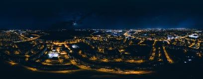 Nacht Riga 360 VR-Hommelbeeld voor Virtuele werkelijkheid, Panorama Royalty-vrije Stock Foto's