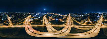 Nacht Riga 360 VR-Hommelbeeld voor Virtuele werkelijkheid, Panorama Stock Foto