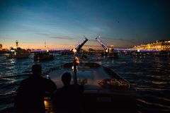 Nacht sankt-Peterburg Rusland royalty-vrije stock foto