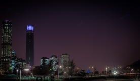 Nacht Santiagos de chile lizenzfreie stockfotografie