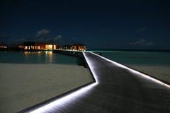 Nacht scense van de Maldiven Stock Afbeelding