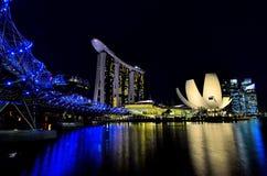Nacht Singapore Royalty-vrije Stock Afbeeldingen