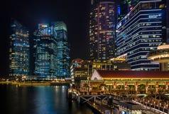 Nacht Singapur Lizenzfreie Stockfotografie