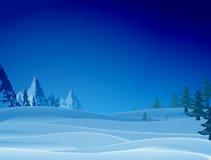 Nacht sneeuwscène met rand en Kerstmisbomen royalty-vrije illustratie
