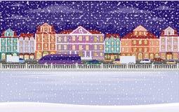 Nacht sneeuwstad royalty-vrije illustratie