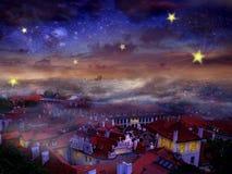 Nacht in Stad stock afbeelding