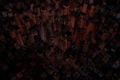 Nacht in stad met skycrapers Royalty-vrije Stock Afbeelding