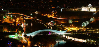Nacht Tbilisi Royalty-vrije Stock Afbeeldingen