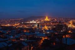 Nacht in Tbilisi, Georgië Stock Afbeeldingen