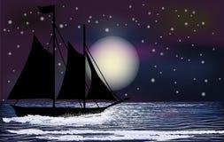 Nacht tropisch behang met varend schip Stock Fotografie