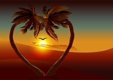 Nacht tropisch eiland Palm twee in vorm van hart Stock Afbeeldingen
