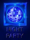 Nacht uit Dansdisco De Bal van de disco Helder blauw glanzend ontwerp Stock Afbeeldingen