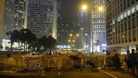 Nacht vóór ontruiming bij Paraplurevolutie - Admiraliteit, Hong Kong Stock Fotografie
