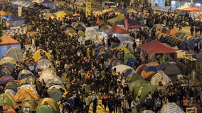 Nacht vóór ontruiming bij Paraplurevolutie - Admiraliteit, Hong Kong Stock Foto's