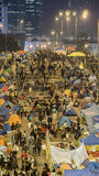 Nacht vóór ontruiming bij Paraplurevolutie - Admiraliteit, Hong Kong Royalty-vrije Stock Foto