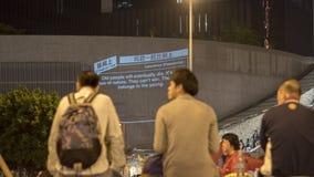 Nacht vóór ontruiming bij Paraplurevolutie - Admiraliteit, Hong Kong Stock Foto