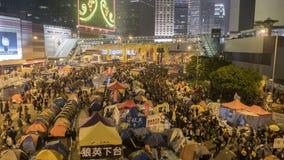 Nacht vóór ontruiming bij Paraplurevolutie - Admiraliteit, Hong Kong Stock Afbeeldingen