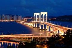 Nacht van brug stock foto's