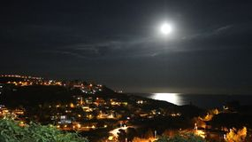 Nacht van de volle maan de kalme zomer stock fotografie