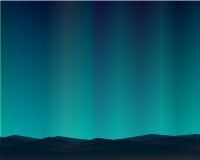 Nacht van het berg de Noordelijke Landschap met Aurora Stars Sky Background Stock Afbeeldingen