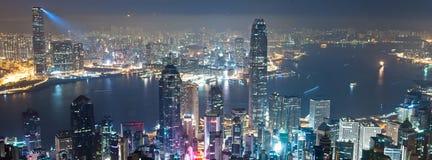 Nacht van Hong Kong Royalty-vrije Stock Fotografie