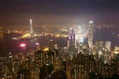 Nacht van Hongkong China Stock Afbeelding