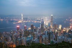 Nacht van Hongkong China Royalty-vrije Stock Afbeelding