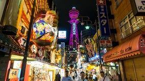 Nacht van Osaka Japan Tourist District royalty-vrije stock fotografie
