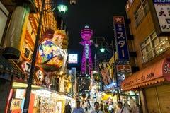 Nacht van Osaka Japan Tourist District royalty-vrije stock afbeelding