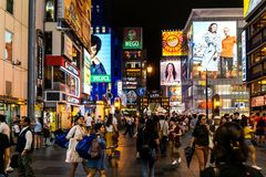 Nacht van Osaka Japan Tourist District royalty-vrije stock afbeeldingen