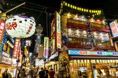 Nacht van Osaka Japan Tourist District stock afbeelding