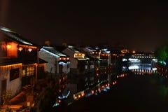 Nacht van rivierstad Royalty-vrije Stock Afbeelding