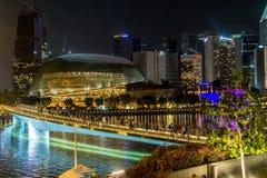 Nacht van Singapore met rivier die vooraan wordt geschoten stock foto's