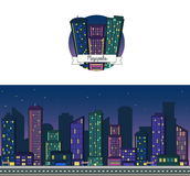 Nacht vectorachtergrond en pictogram van een moderne grote het huishorizon van de binnenstad van de stadswolkenkrabber voor Web e vector illustratie