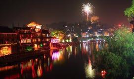 Nacht von Fenghuang stockbilder