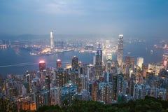 Nacht von Hong- Kongporzellan Lizenzfreies Stockbild