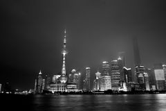 Nacht von Shanghai-Stadt Stockfoto