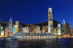 Nacht von Victoria Harbour Stockbilder