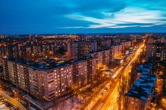 Nacht-Voronezh-Stadtbild von der Dachspitze 3d übertragen Abbildung Lizenzfreie Stockfotografie